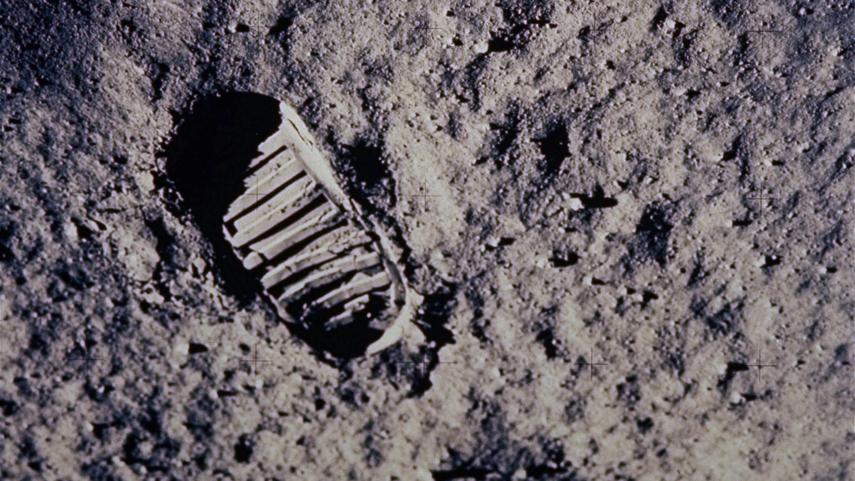 "A footprint left by one of the astronauts of the Apollo 11 mission shows in the soft, powder surface of the moon on July 20, 1969. Commander Neil A. Armstrong and Air Force Col. Edwin E. ""Buzz"" Aldrin Jr. became the first men to walk on the moon after blastoff from Cape Kennedy, Fla., on July 16, 1969. They headed back home from the lunar surface on July 21, 1969. The end of man's first voyage to another planet ended with a splashdown 950 miles southwest of Hawaii, thus achieving President John F.Kennedy's challenge to land men on the moon before the end of the 1960s."