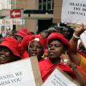 Traditional healers chant slogans during a march in Johannesburg November 22, 2006. Traditional healers marched in a show of support for the Health Ministry and a place for African traditional medicines in treating HIV/Aids.