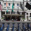 Bicycles are parked near the Plaza Hotel in the Manhattan borough of New York
