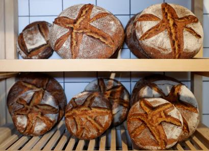 "Breads are displayed at ""Le Bricheton"" ecologic bakery in Paris"
