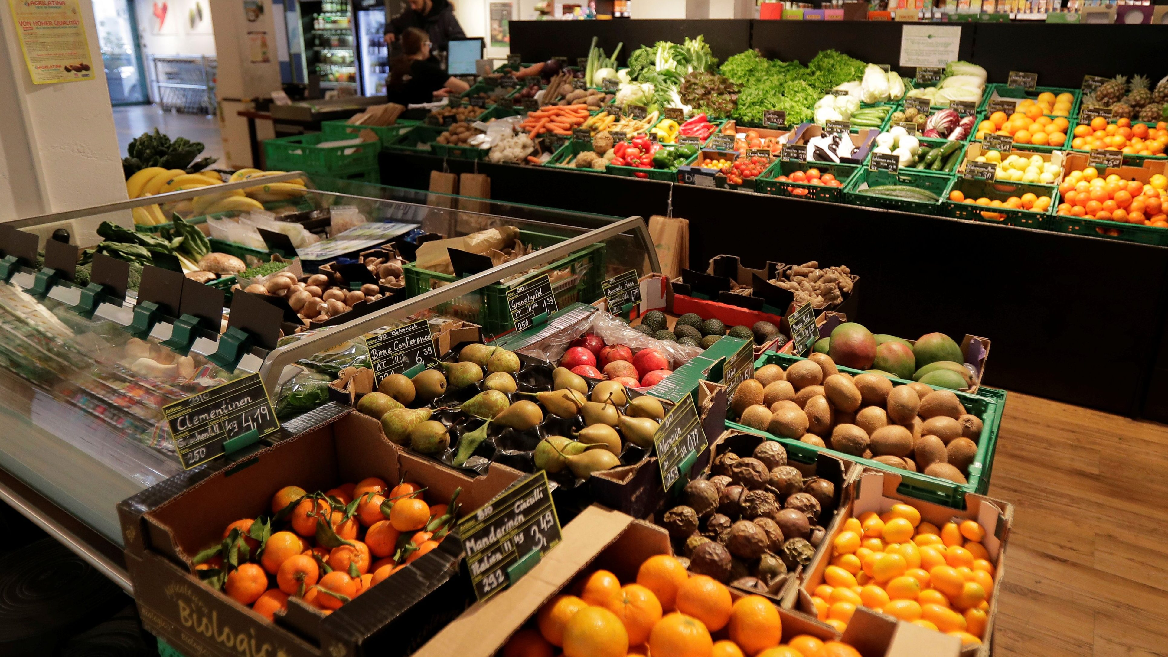 Fruits and vegetables are on display at Maran Vegan, Austria's first strictly vegan supermarket, in Vienna, Austria January 31, 2018.