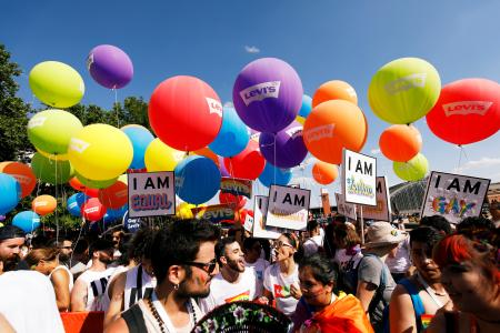 Revellers take part in the Gay Pride parade in Madrid