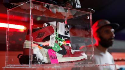 online store d404d e1416 Nike Off-White Air Jordan 1 sneakers are seen at the KICKIT Sneaker e  Streetwear