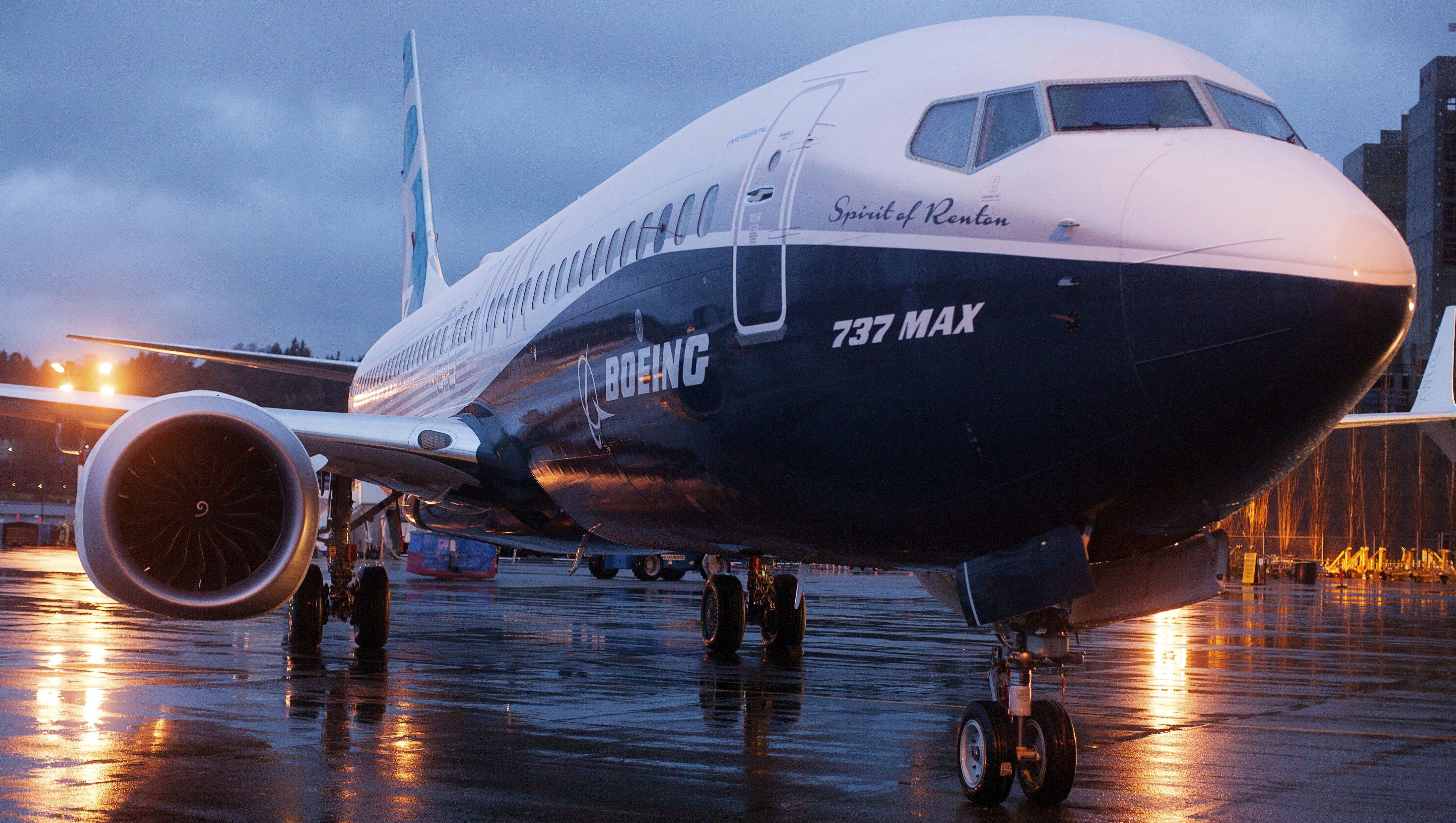 A Boeing 737 MAX 8 sits outside the hangar during a media tour of the Boeing 737 MAX at the Boeing plant in Renton, Washington.