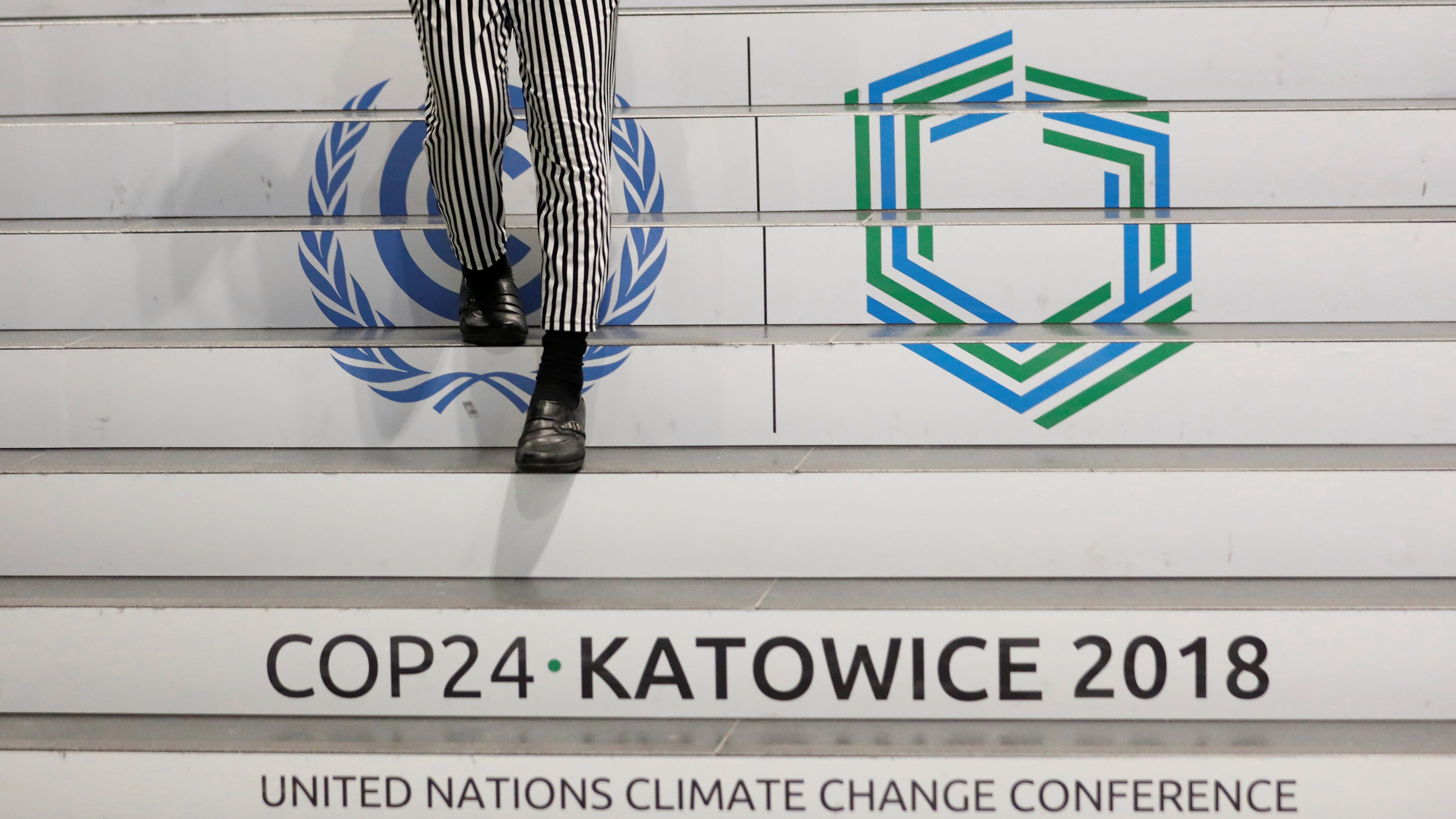 A woman walks down the stairs inside the venue of the COP24 U.N. Climate Change Conference 2018 in Katowice, Poland December 4, 2018. REUTERS/Kacper Pempel - RC17C9119580
