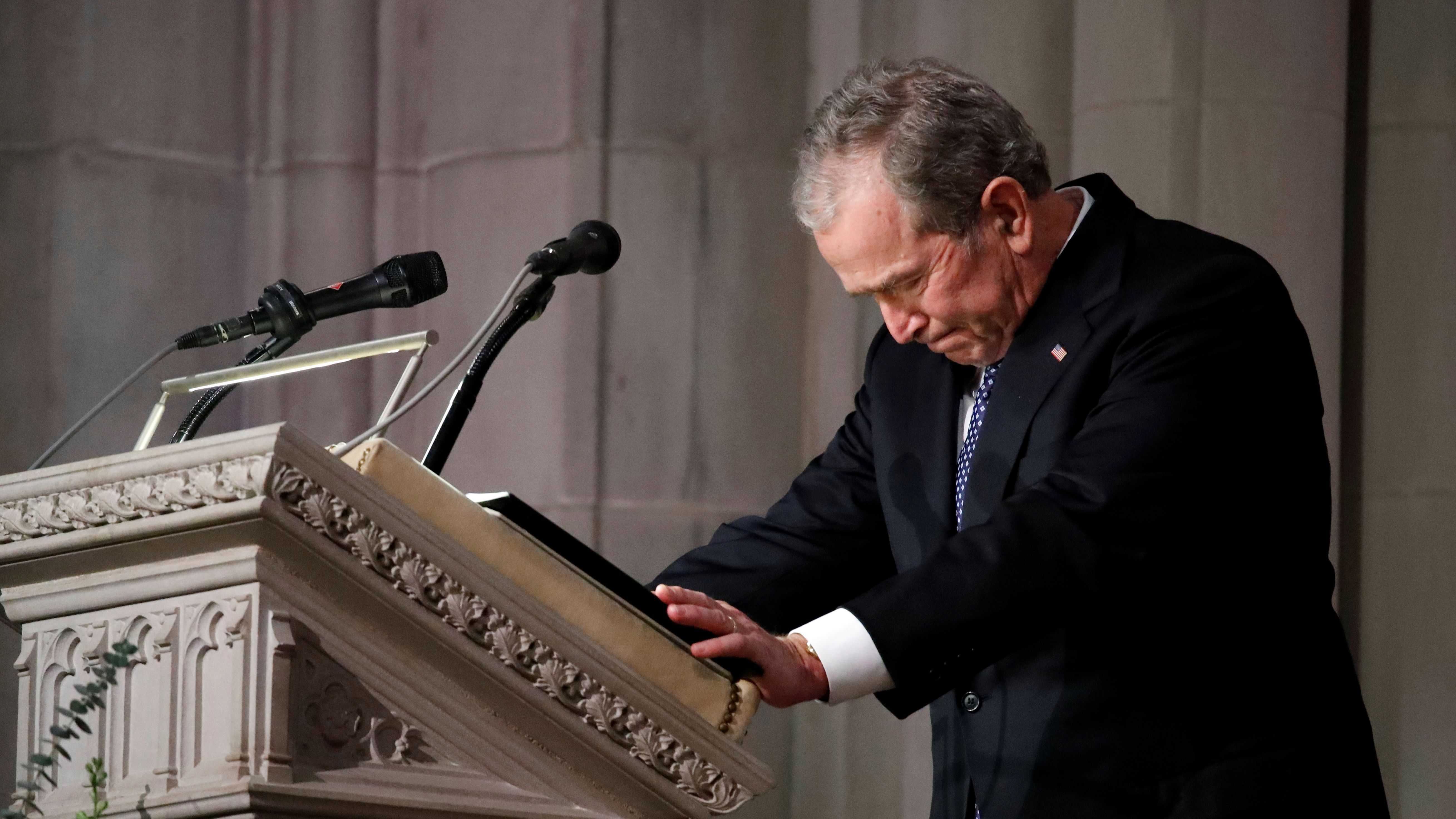 Former President George W. Bush speaks at the State Funeral for his father, former President George H.W. Bush, at the National Cathedral, Wednesday, Dec. 5, 2018, in Washington. Alex Brandon/Pool via REUTERS TPX IMAGES OF THE DAY - RC19A33A73A0