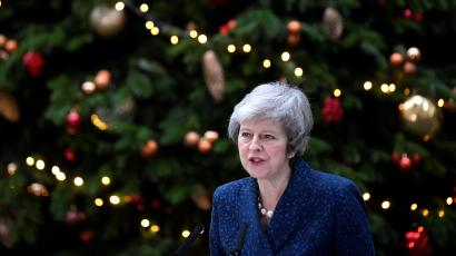 Britain's Prime Minister Theresa May addresses the media outside 10 Downing Street after it was announced that the Conservative Party will hold a vote of no confidence in her leadership, in London