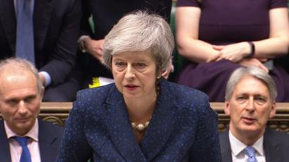 Britain's Prime Minister Theresa May speaks in the House of Commons.