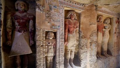 A view of statues inside the newly-discovered tomb of 'Wahtye', which dates from the rule of King Neferirkare Kakai, at the Saqqara area near its necropolis, in Giza, Egypt, December 15, 2018.