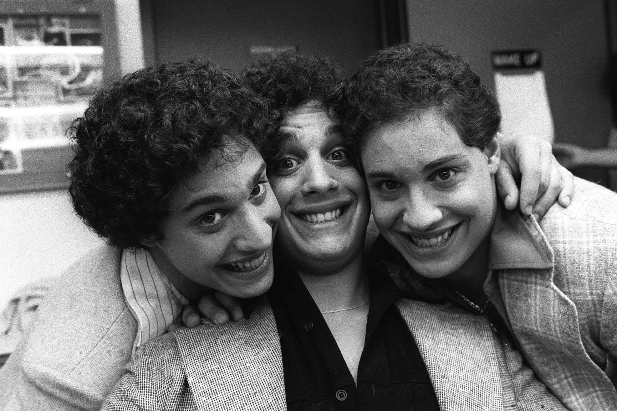 Recently re-united triplets pose at NBC-TV morning of Sept.26, 1980