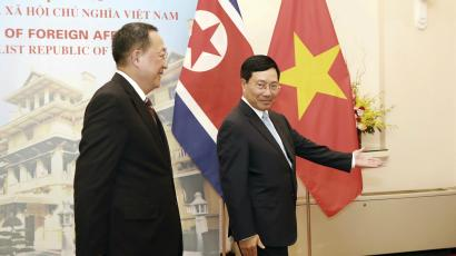 The North Korean foreign minister meeting with the Vietnamese foreign minister.