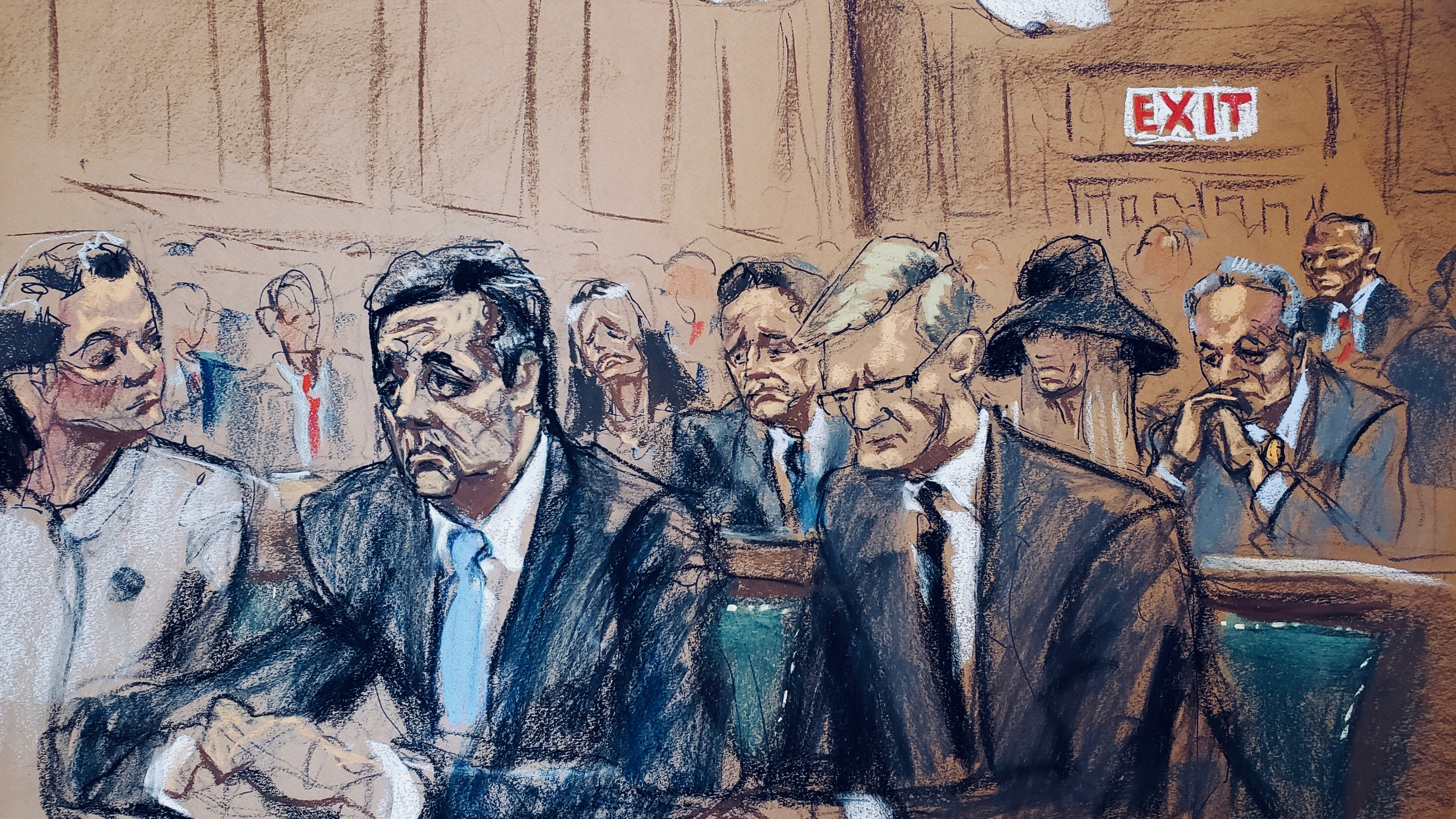 Michael Cohen's sentencing hearing, illustrated.