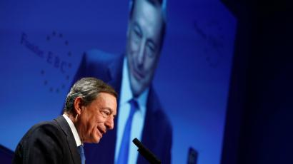 European Central Bank (ECB) President Mario Draghi speaks at the 28th Frankfurt European Banking Congress (EBC) at the Old Opera house in Frankfurt, Germany