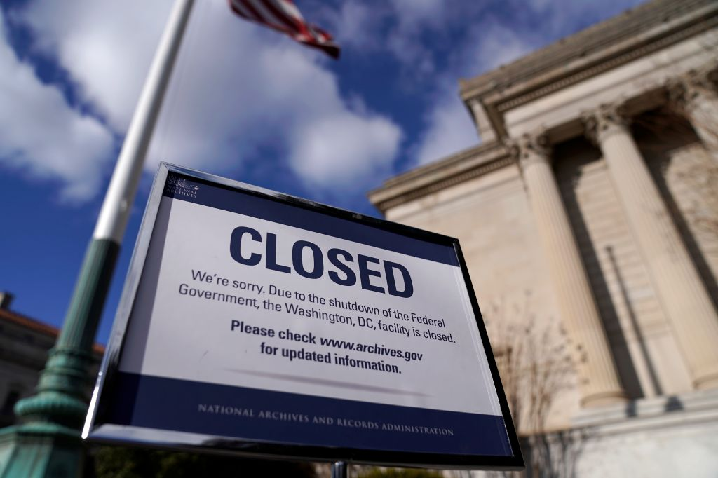 A sign declares the National Archive is closed due to a partial federal government shutdown in Washington, U.S., December 22, 2018.