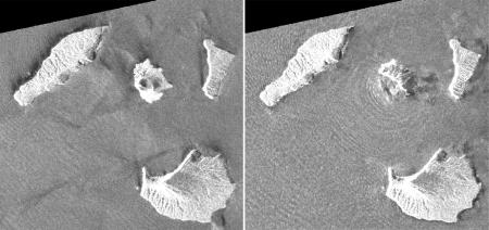 This combination of synthetic aperture radar images shows Indonesia's Anak Krakatau volcano, center in images, before and after the Dec. 22, 2018, eruption. The images were taken on Aug. 20, 2018, left, and on Dec. 24, 2018, right, respectively. The satellite imagery showed a deformation on the volcano's southwest side.