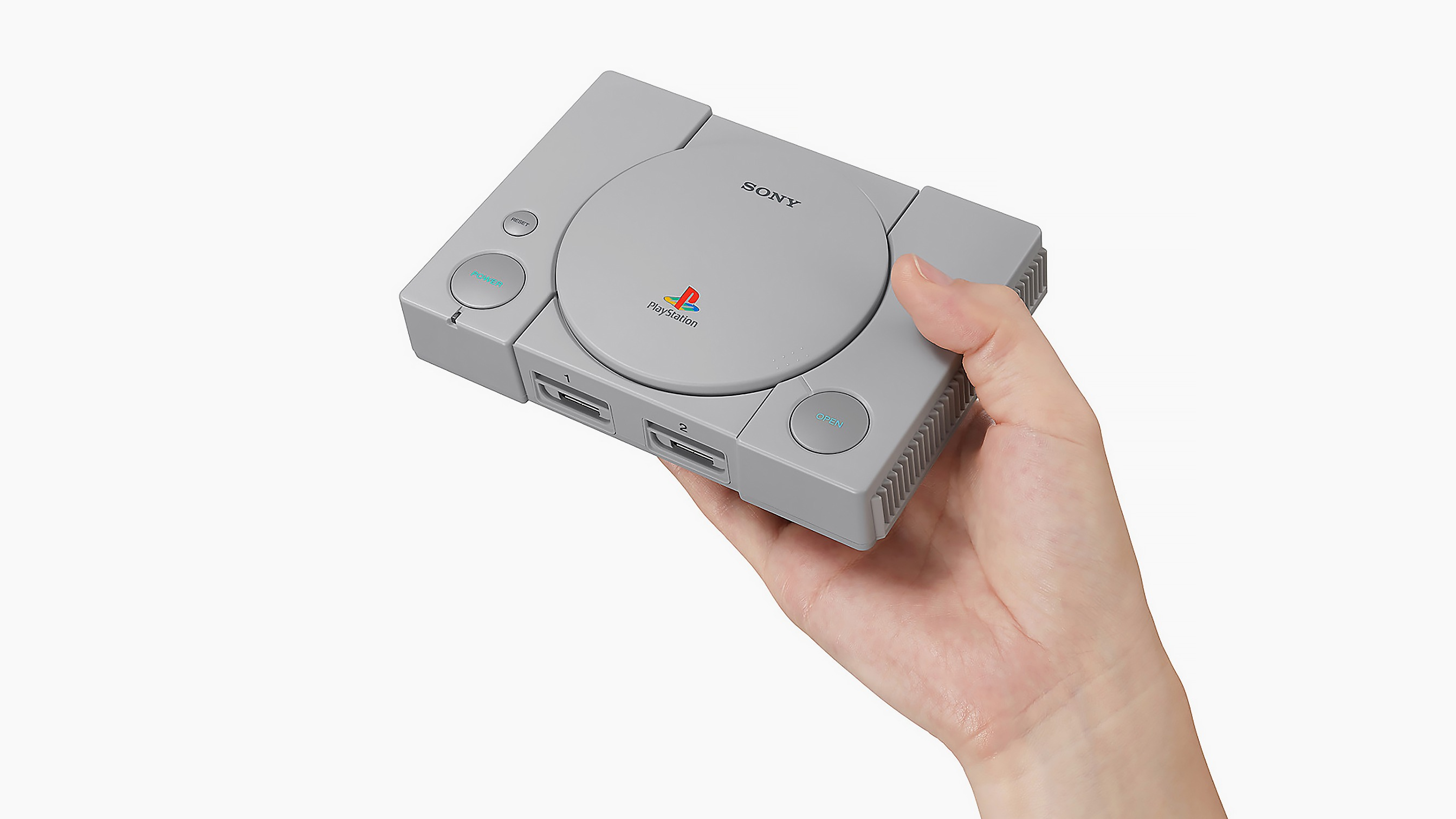Promotional advertisement for the Playstation Classic, a an aesthetically similar but miniaturized version of the original Playstation game console.
