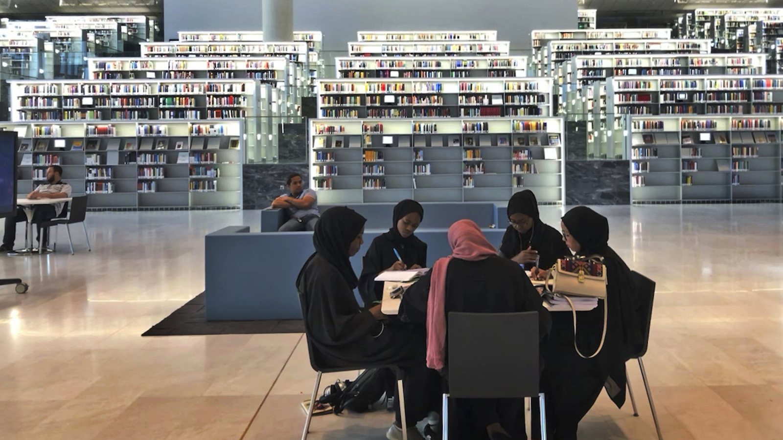 Qatar students at the library