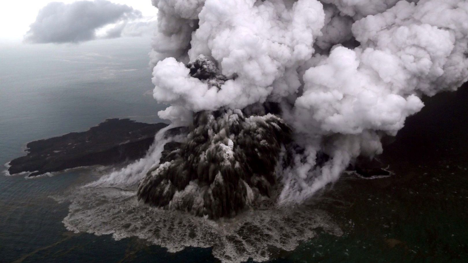 An aerial view of Anak Krakatau volcano during an eruption at Sunda strait in South Lampung, Indonesia, December 23, 2018.