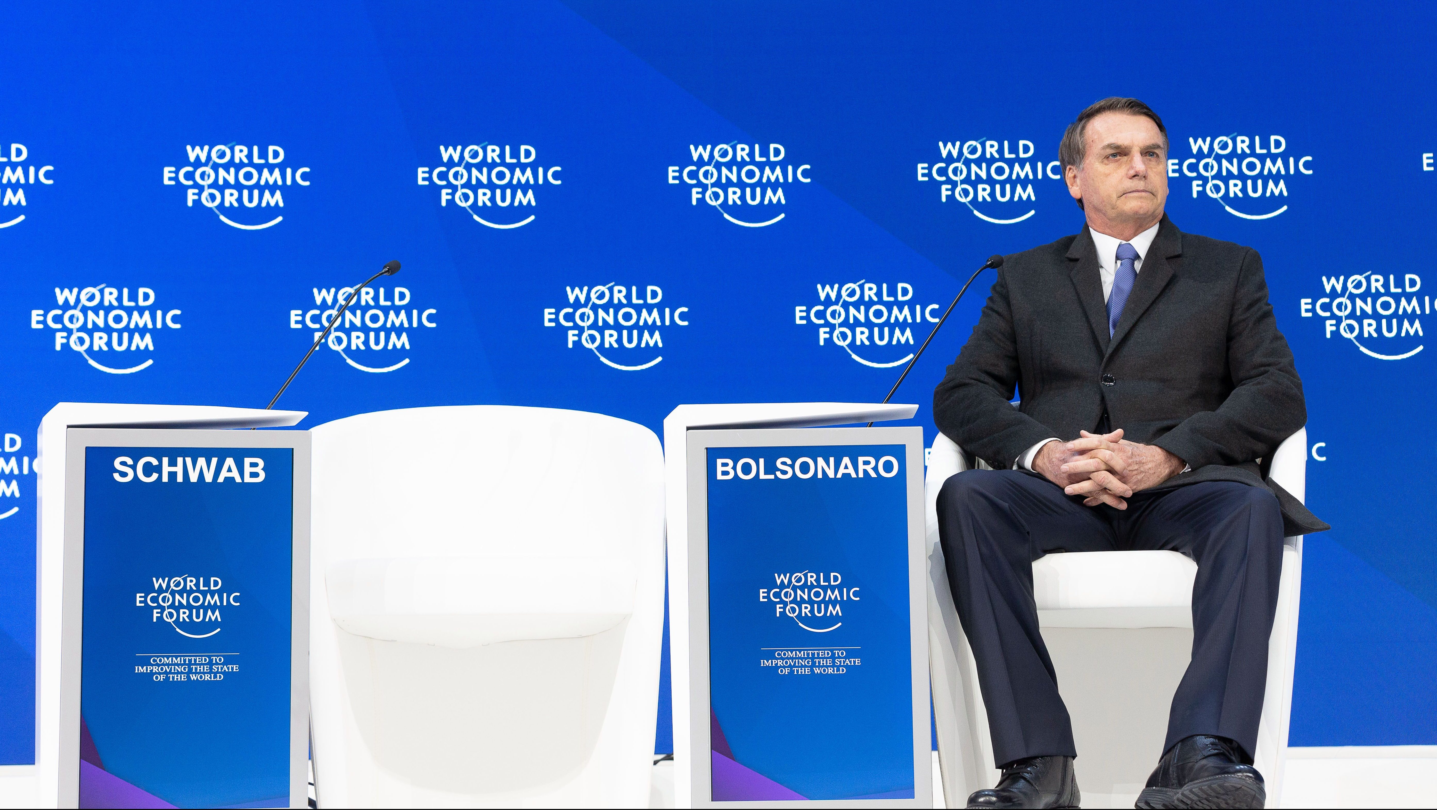 Jair Bolsonaro, President of Brazil speaking at the Annual Meeting 2019 of the World Economic Forum in Davos, January 22, 2018.