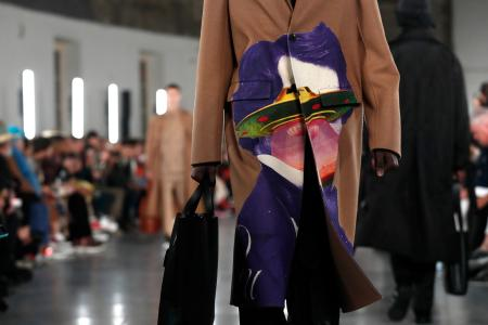 A model wears a creation for the Valentino men's Fall/Winter 2019/20 fashion collection presented in Paris, Wednesday Jan.16, 2019. (AP Photo/Thibault Camus)