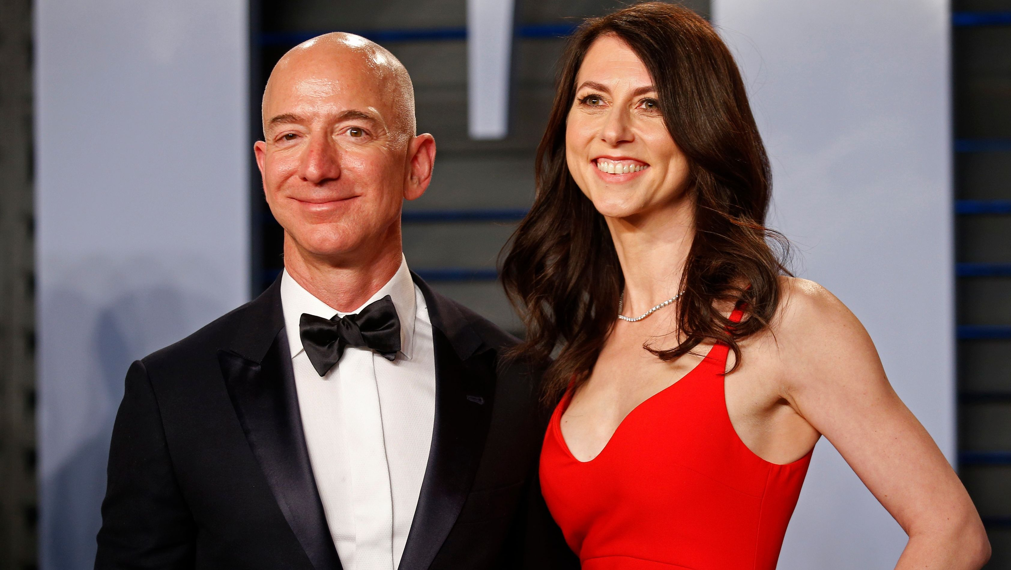 Jeff Bezos and MacKenzie Bezos at 2018 Vanity Fair Oscar Party -