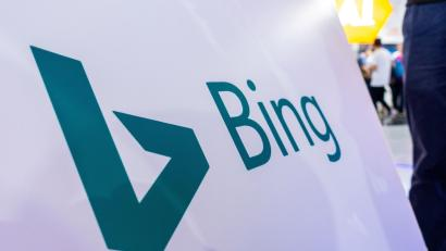 A sign of Microsoft Corp's Bing search engine is seen at the World Artificial Intelligence Conference (WAIC) in Shanghai, China September 21, 2018. Picture taken September 21, 2018.