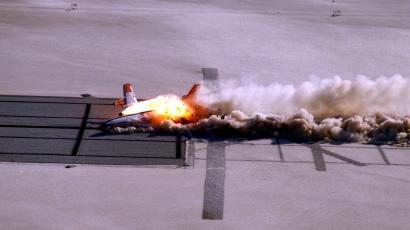 CID (Controlled Imact Demonstrator) Aircraft skid after wing cutter impact.
