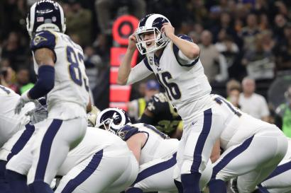 Jan 20, 2019; New Orleans, LA, USA; Los Angeles Rams quarterback Jared Goff (16) audibles during the fourth quarter of the NFC Championship game against the New Orleans Saints at Mercedes-Benz Superdome. Mandatory Credit: Derick E. Hingle-USA TODAY Sports - 12030687