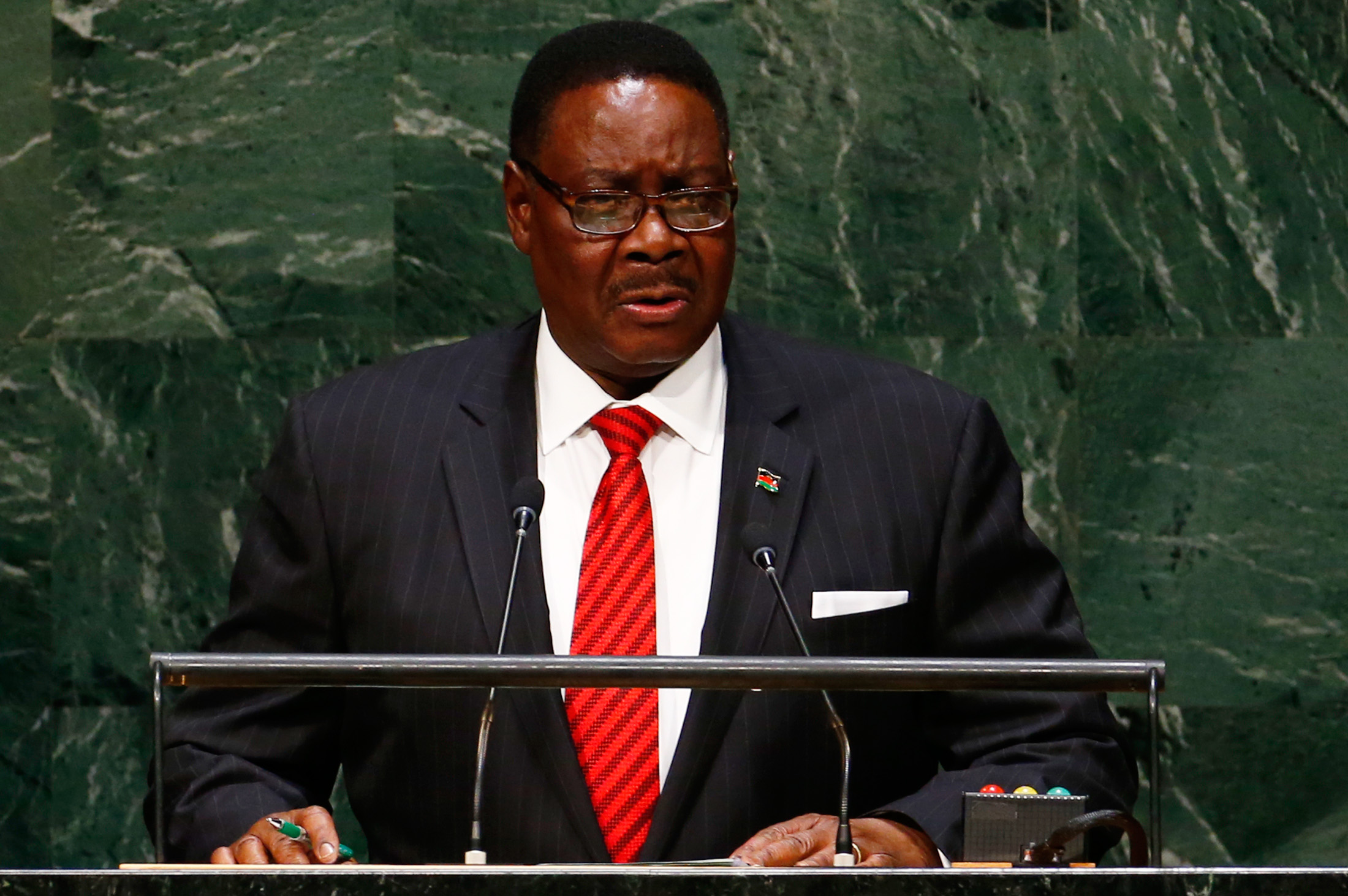 Arthur Peter Mutharika, President of Malawi, addresses the 69th United Nations General Assembly at the U.N. headquarters in New York September 25, 2014.