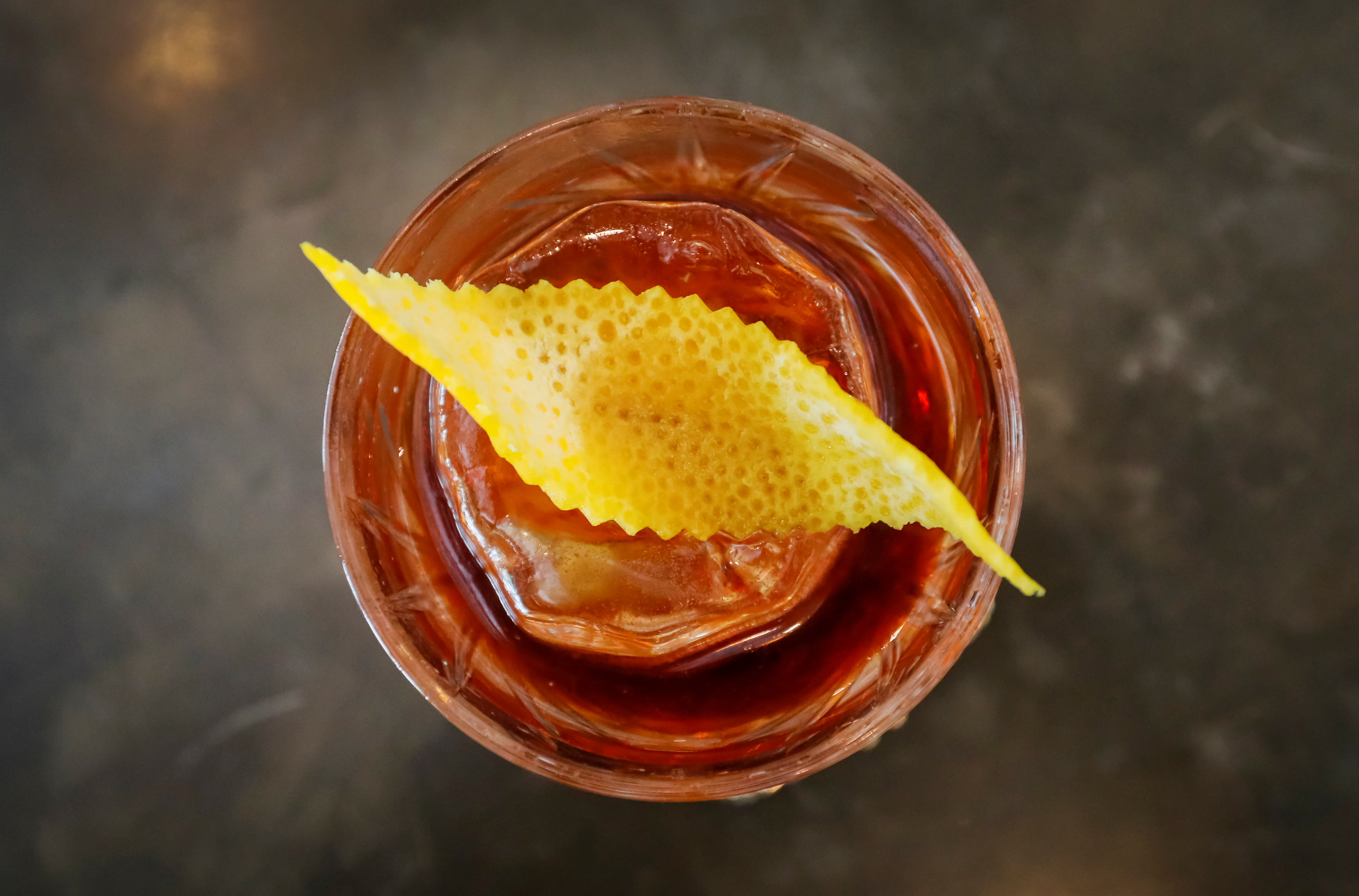 An illustration photo shows a Boulevardier cocktail at Barmaglot bar in Almaty