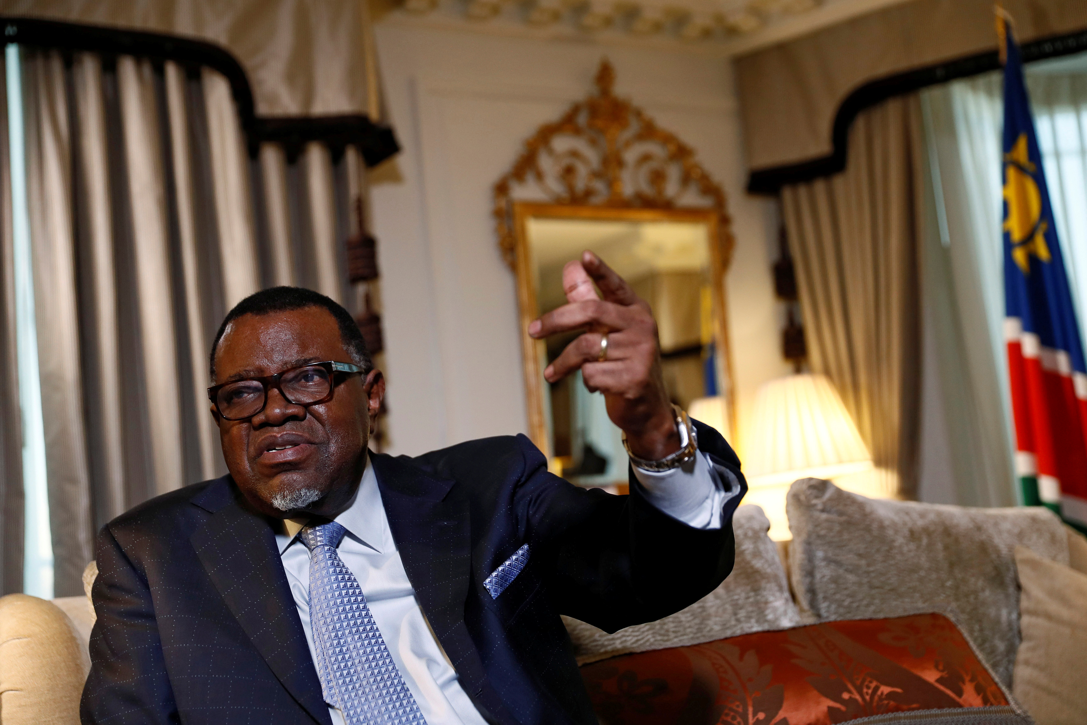 President Hage Geingob of Namibia gestures during an interview with Reuters in central London, Britain December 1, 2016.