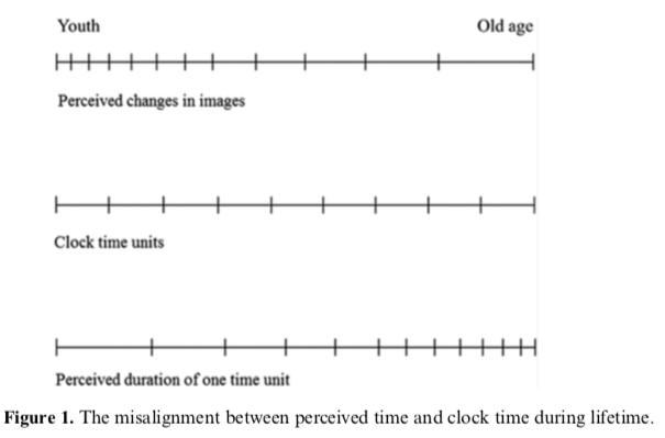 Clock time and mind time perception over a lifetime.