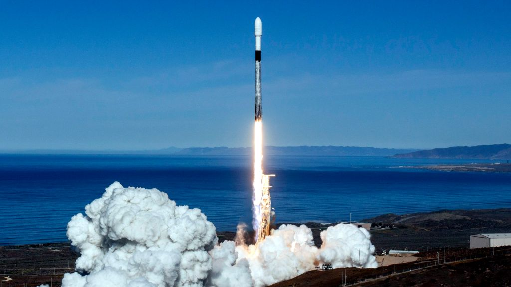 A SpaceX Falcon 9 rocket takes off on Dec. 3 2018.