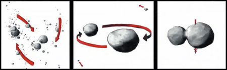 Artists representation of the formation of Ultima Thule.