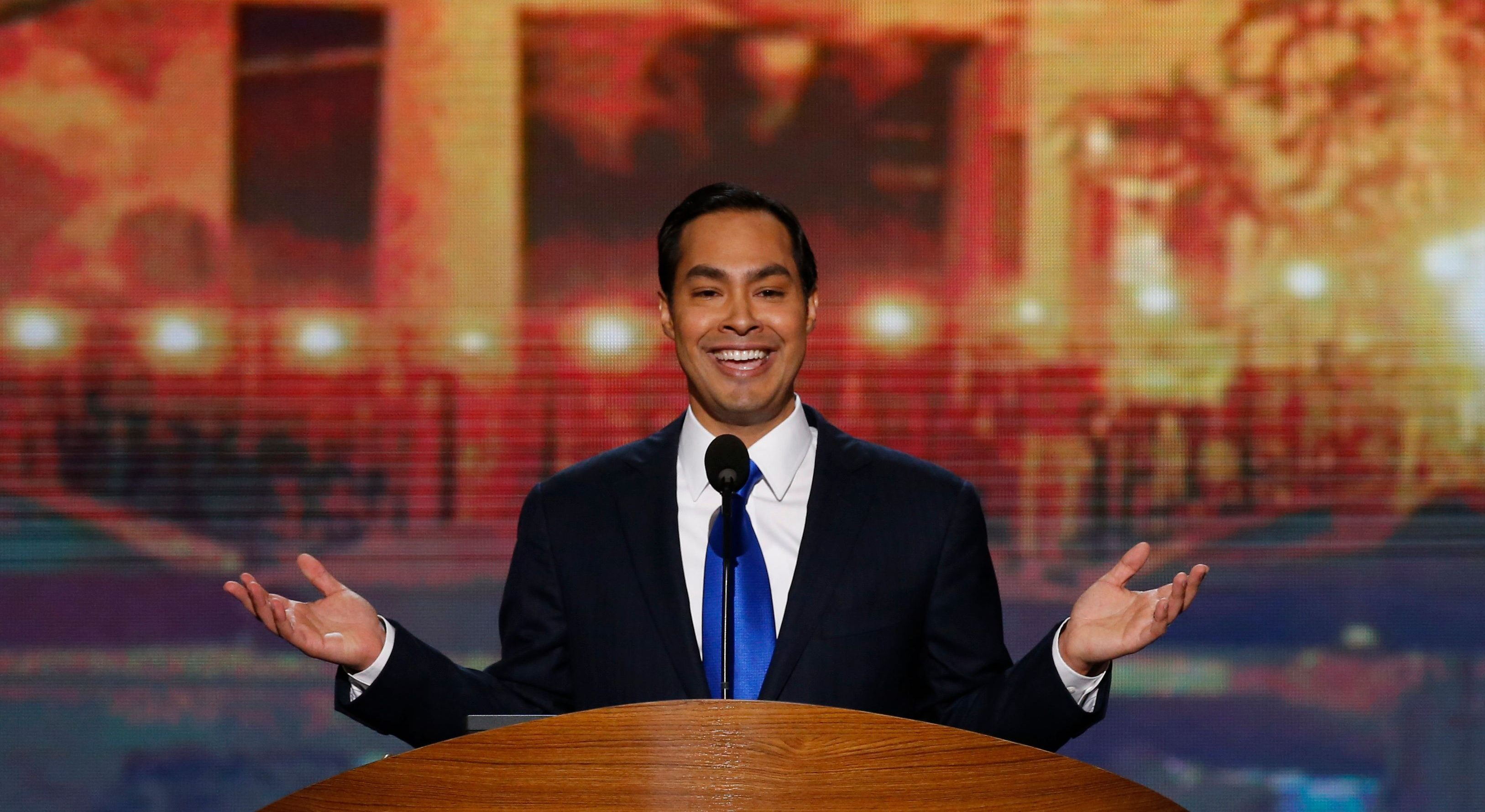 Julian Castro, Mayor of San Antonio, Texas, delivers the keynote address during the first day of the Democratic National Convention in Charlotte, North Carolina, September 4, 2012.