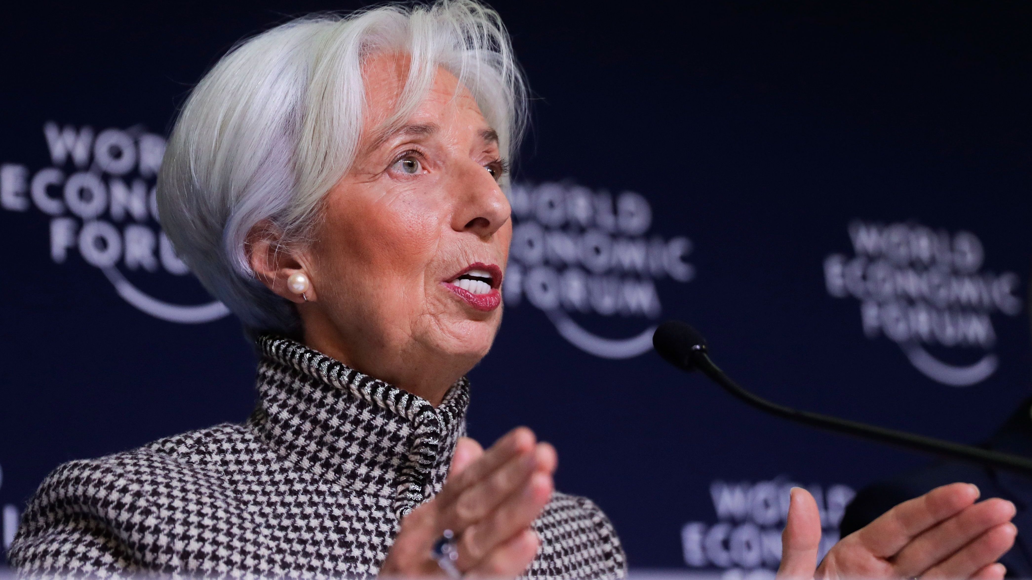 International Monetary Fund Managing Director Christine Lagarde briefs the media during a news conference at the annual meeting of the World Economic Forum, WEF, in Davos, Monday, Jan. 21, 2019.