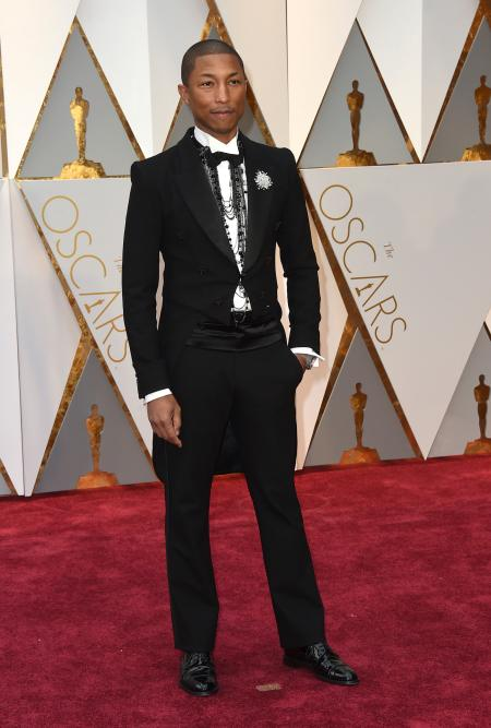 Pharrell Williams arrives at the Oscars on Sunday, Feb. 26, 2017, at the Dolby Theatre in Los Angeles. (Photo by Jordan Strauss/Invision/AP)