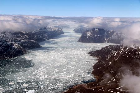 Aerial view of a fjord