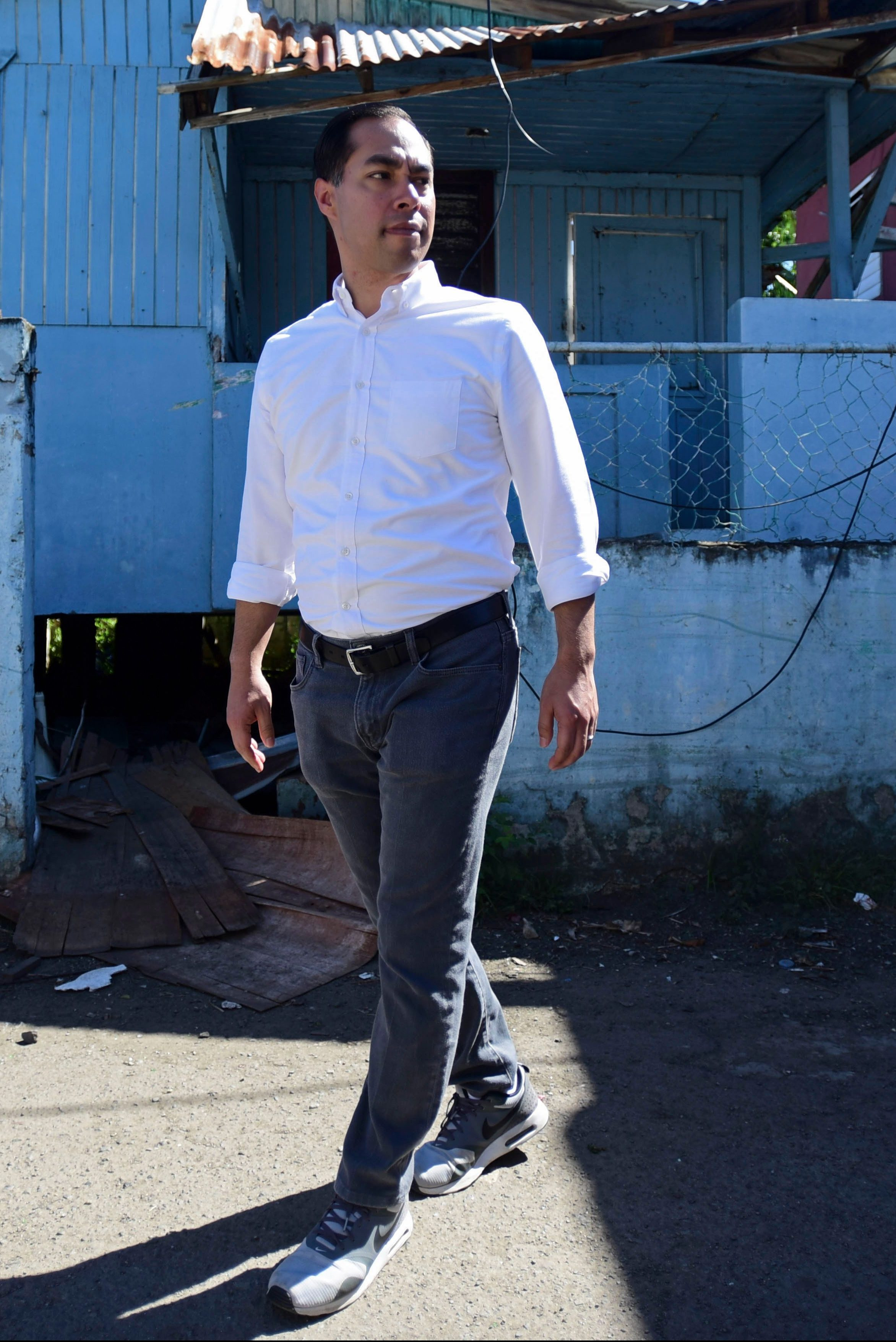 Julian Castro visits Playita, one of the poorest and most affected communities by Hurricane Maria in San Juan, Puerto Rico