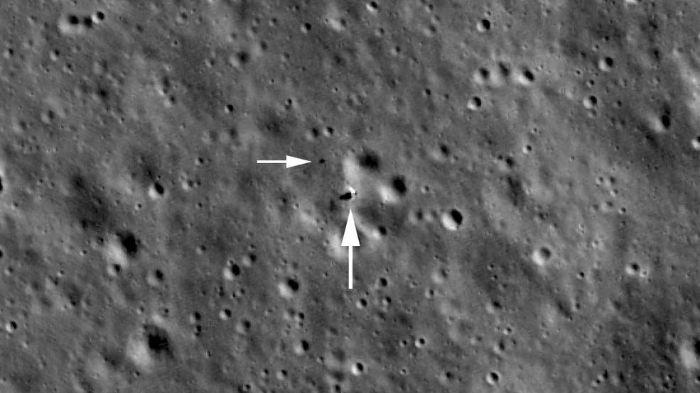 Just after midnight (UTC) on February 1, 2019, the Lunar Reconnaissance Orbiter (LRO) passed nearly overhead the Chang'e 4 landing site. From an altitude of 82 kilometers the LROC Narrow Angle Camera pixel scale was 0.85 meters (33 inches), allowing a sharper view of the lander and Yutu-2 rover.