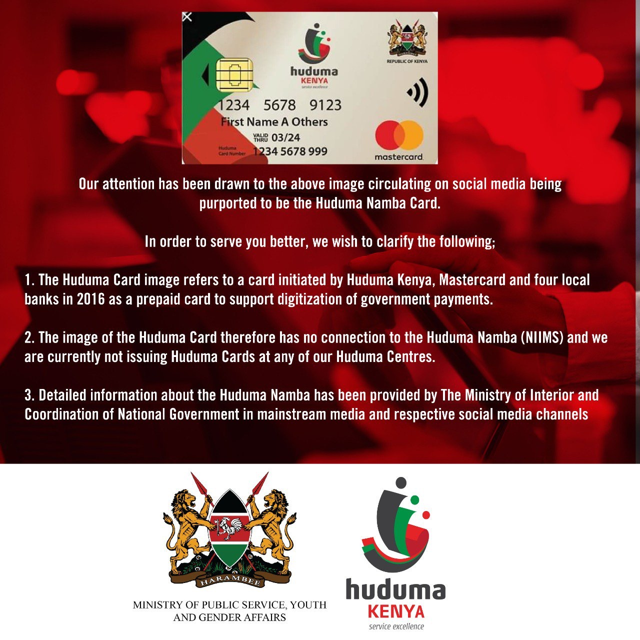 Kenya biometric data ID not with Mastercard, but faces