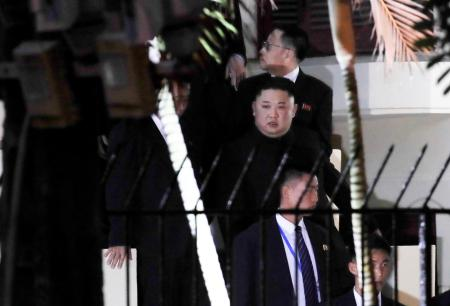 North Korea's leader Kim Jong Un leaves the North Korean embassy in Hanoi, Vietnam, February 26, 2019. Yonhap via REUTERS ATTENTION EDITORS - THIS IMAGE HAS BEEN SUPPLIED BY A THIRD PARTY. SOUTH KOREA OUT. NO RESALES. NO ARCHIVE. - RC116165F000