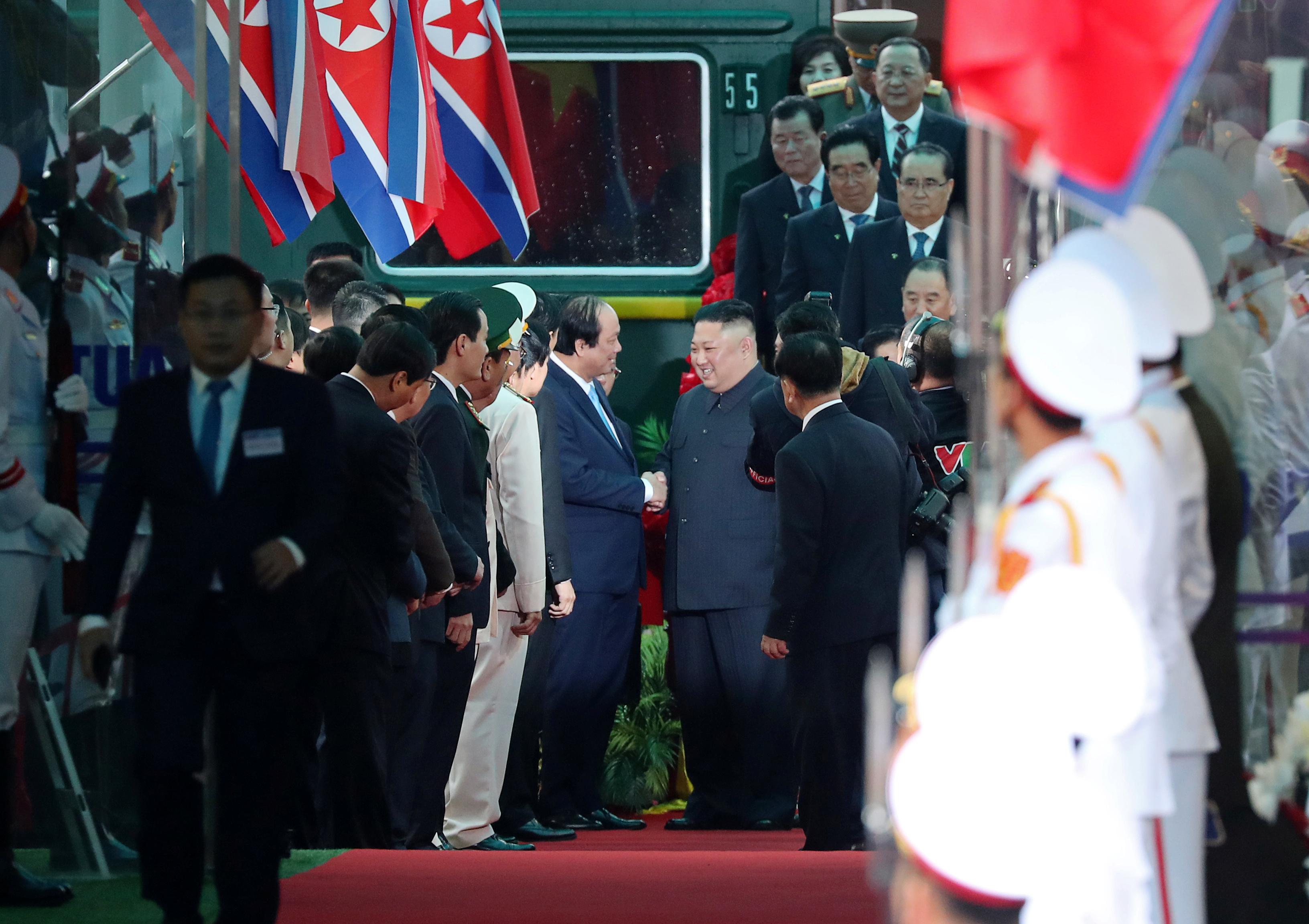 North Korea's leader Kim Jong Un arrives at the Dong Dang railway station, Vietnam, at the border with China, February 26, 2019.