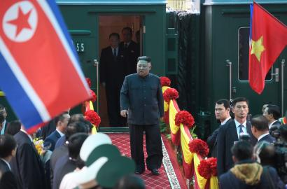 North Korea's leader Kim Jong Un arrives by train at the border town with China in Dong Dang, Vietnam, February 26, 2019.