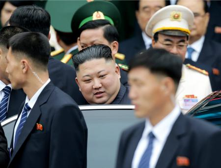 North Korean leader Kim Jong Un gets on a car after arriving by train in Dong Dang in Vietnamese border town Tuesday, Feb. 26, 2019, ahead of his second summit with U.S. President Donald Trump. (AP Photo/Minh Hoang)