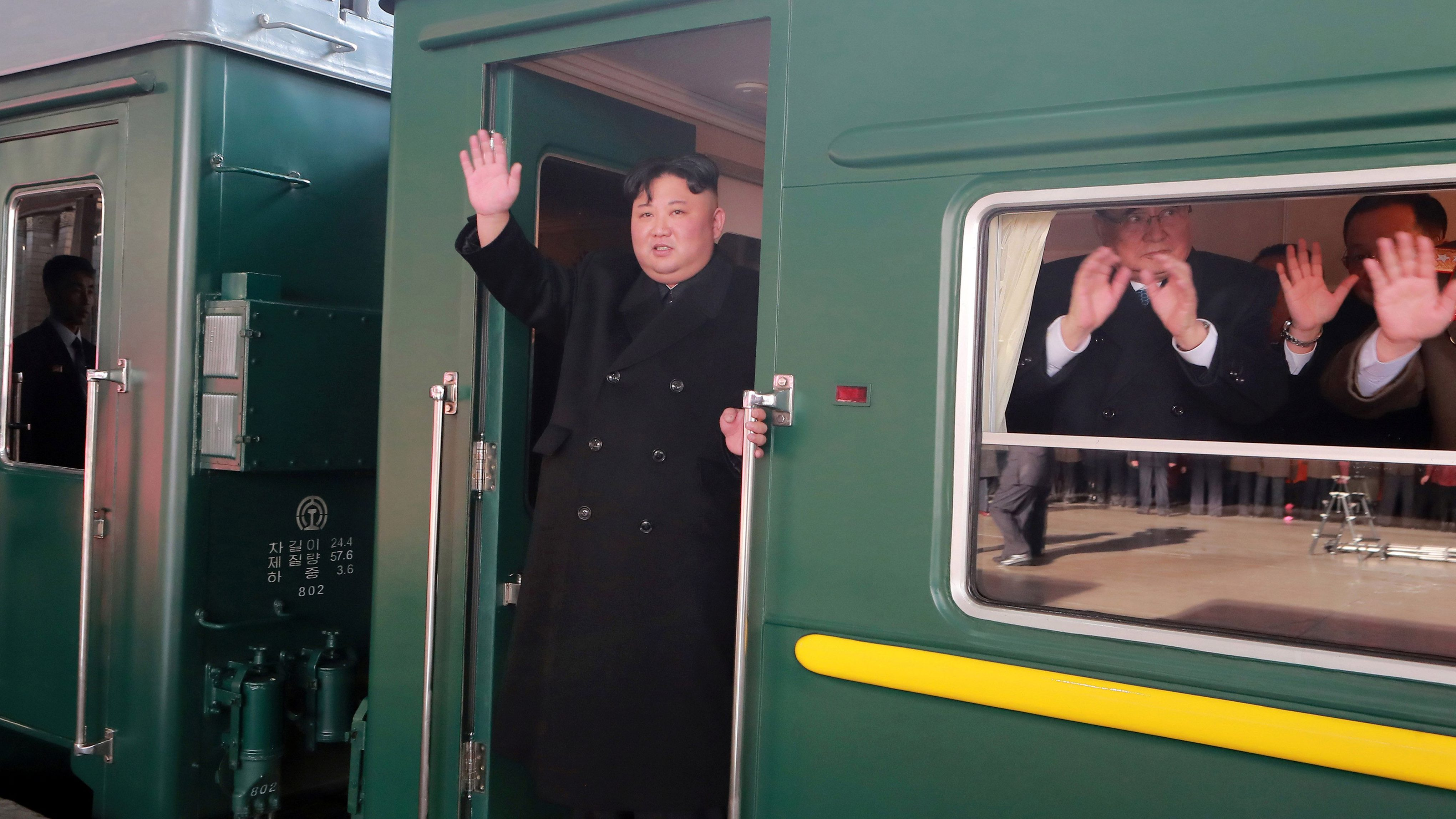 North Korean leader Kim Jong Un waves from a train as he departs for a summit in Hanoi, in Pyongyang, North Korea in this photo released by North Korea's Korean Central News Agency (KCNA) on February 23, 2019. KCNA via REUTERS ATTENTION EDITORS - THIS IMAGE WAS PROVIDED BY A THIRD PARTY. REUTERS IS UNABLE TO INDEPENDENTLY VERIFY THIS IMAGE. NO THIRD PARTY SALES. SOUTH KOREA OUT. NO COMMERCIAL OR EDITORIAL SALES IN SOUTH KOREA. - RC1FA975E880