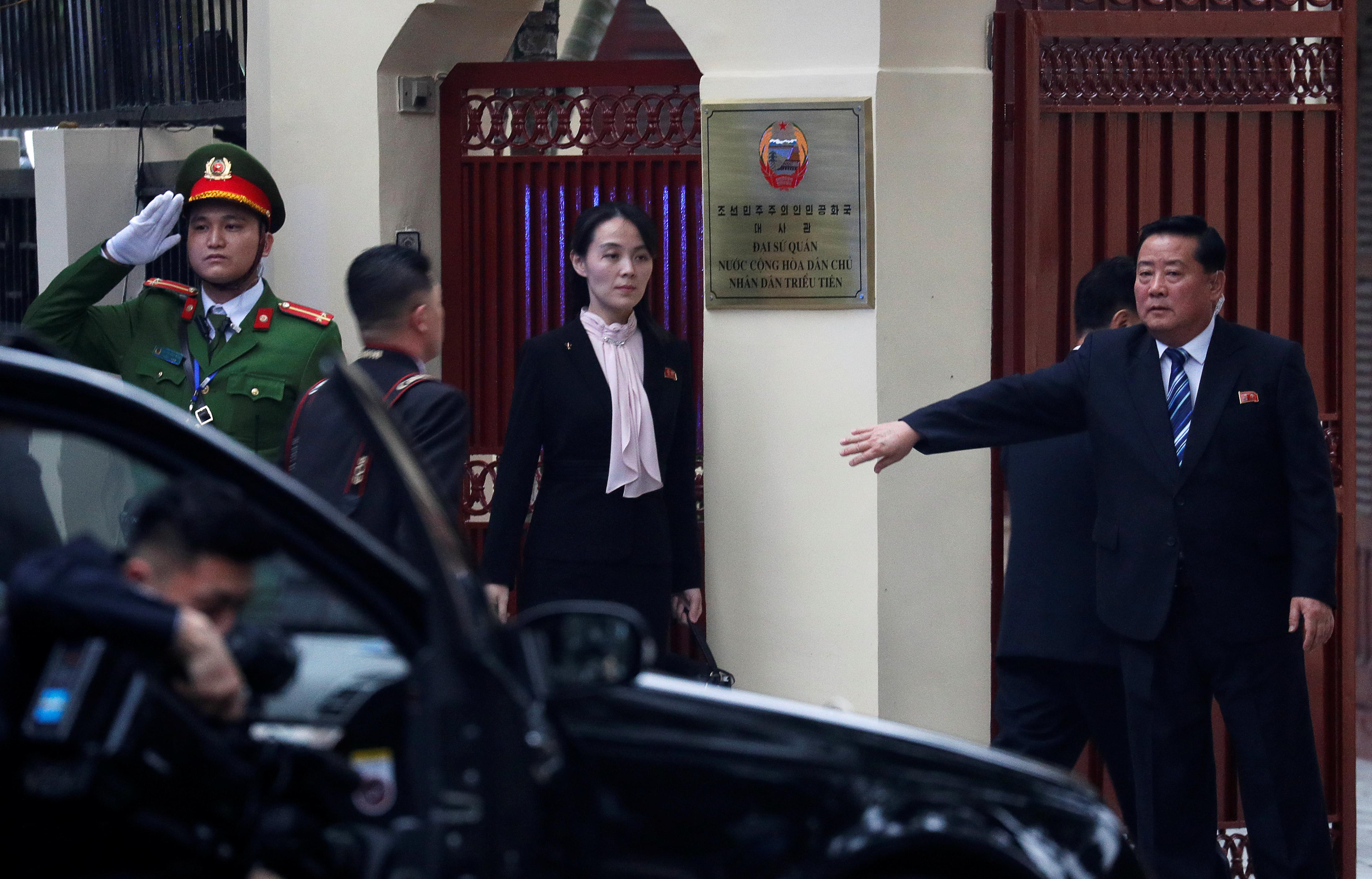 Kim Yo Jong, sister of North Korea's leader Kim Jong Un arrives at the North Korean embassy in Hanoi, Vietnam, February 26, 2019. REUTERS/Jorge Silva - RC1B0EE109B0