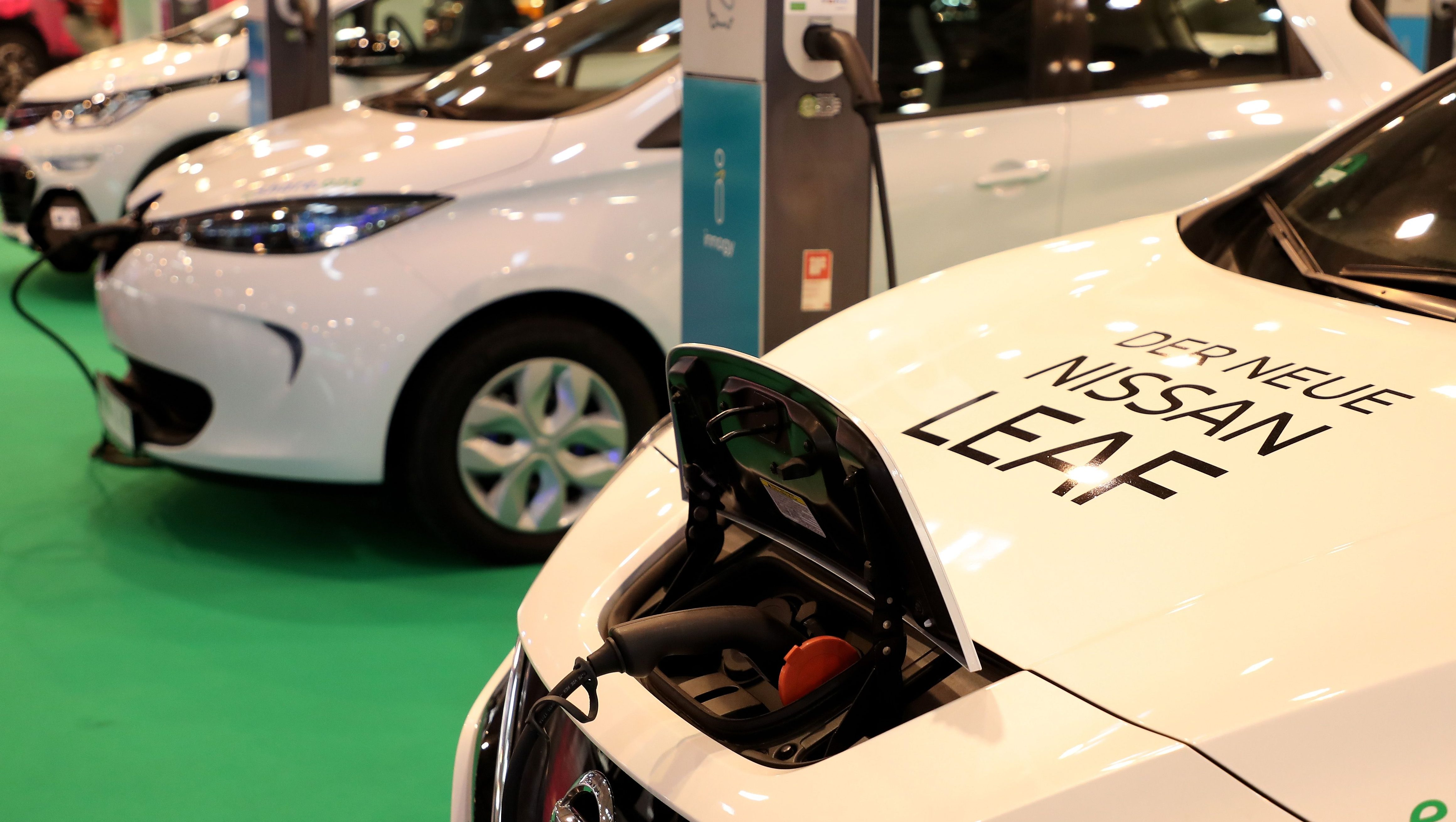 The Electric Car Nissan Leaf Is Charged During Motor Show In Essen Germany