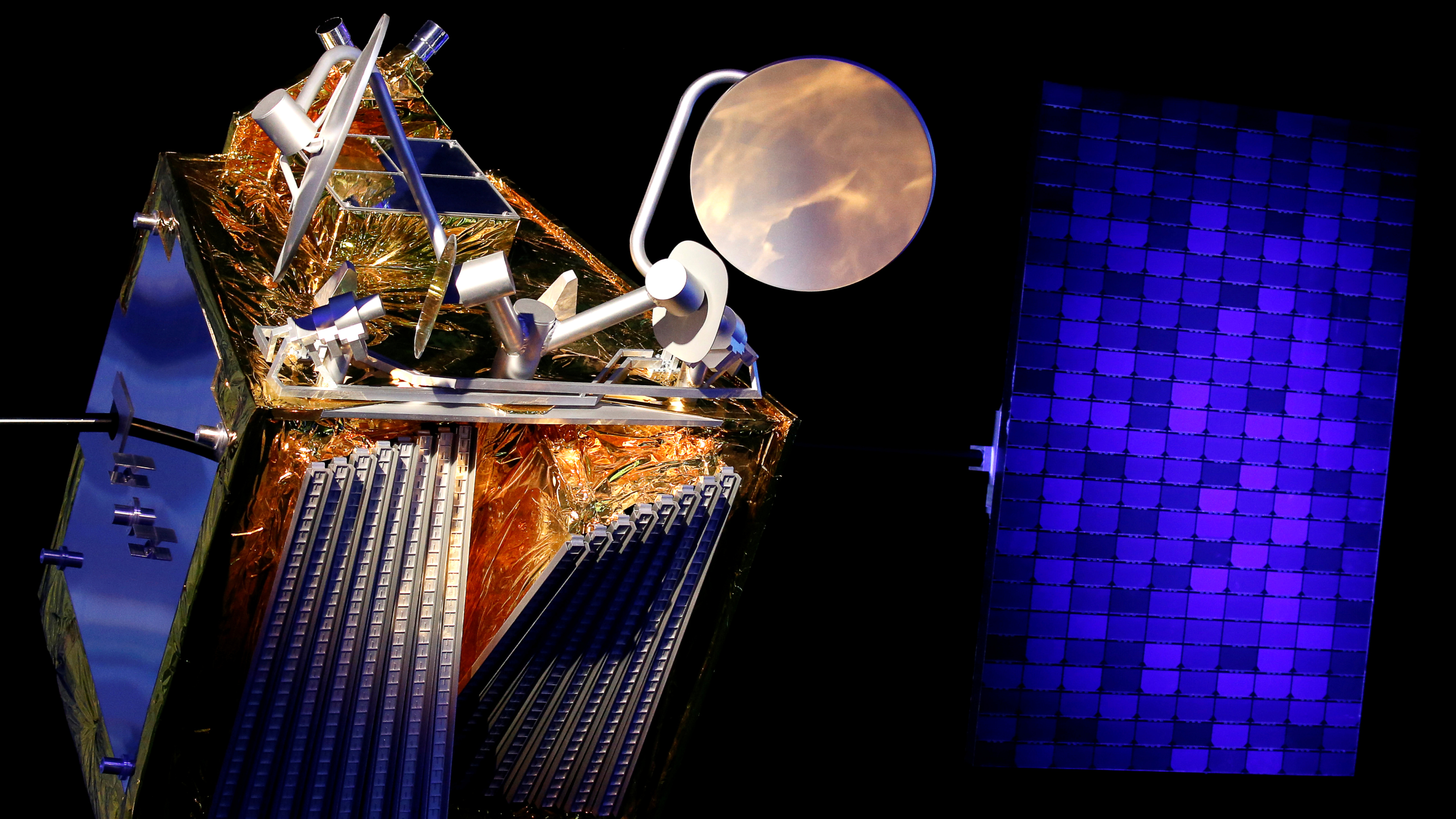 A scale model of an Airbus OneWeb satellite and its solar panel are pictured as Airbus announces annual results in Blagnac, near Toulouse, France February 14, 2019.