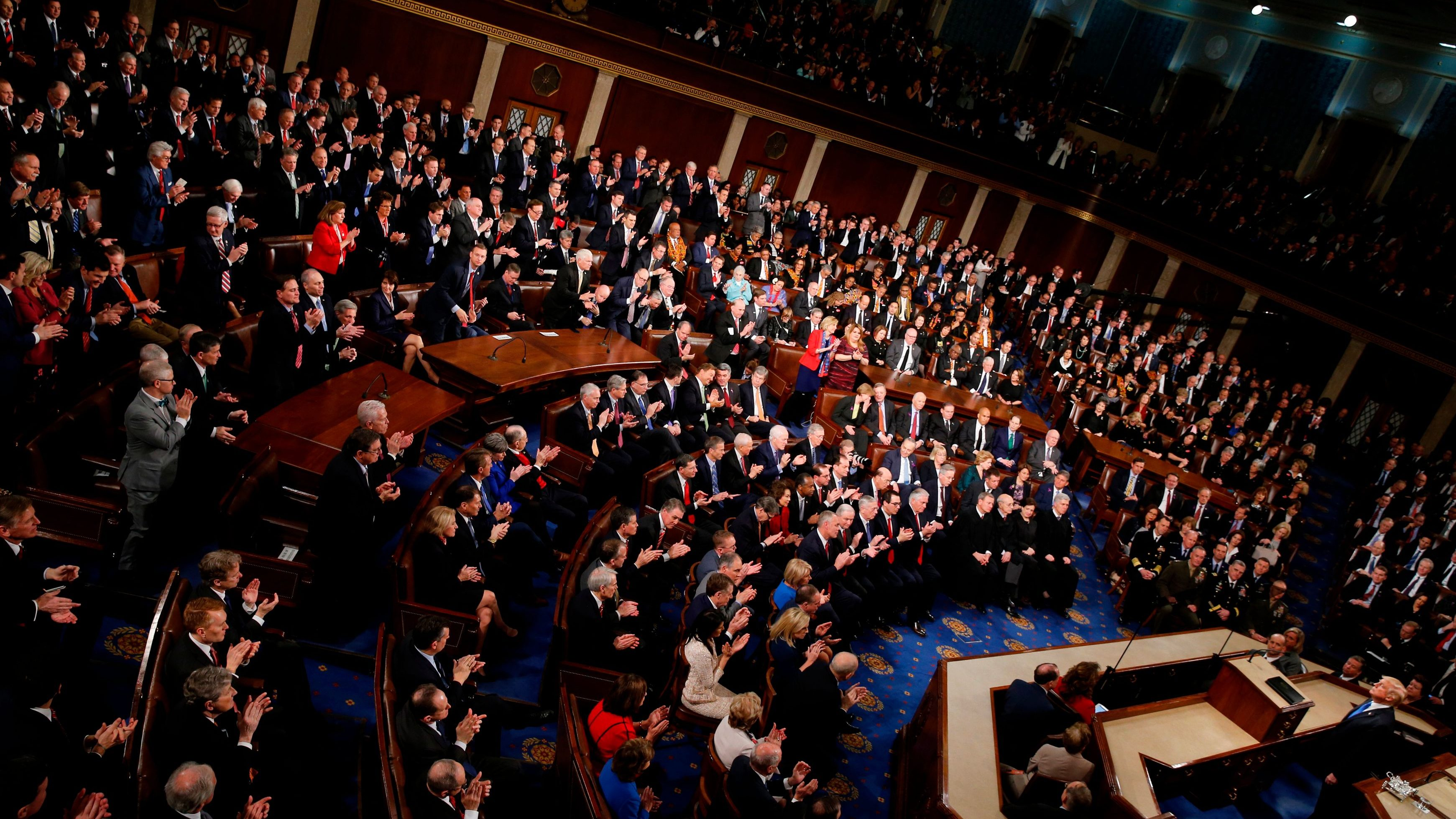 U.S. President Donald Trump delivers his State of the Union address to a joint session of the U.S. Congress on Capitol Hill in Washington, U.S. January 30, 2018.